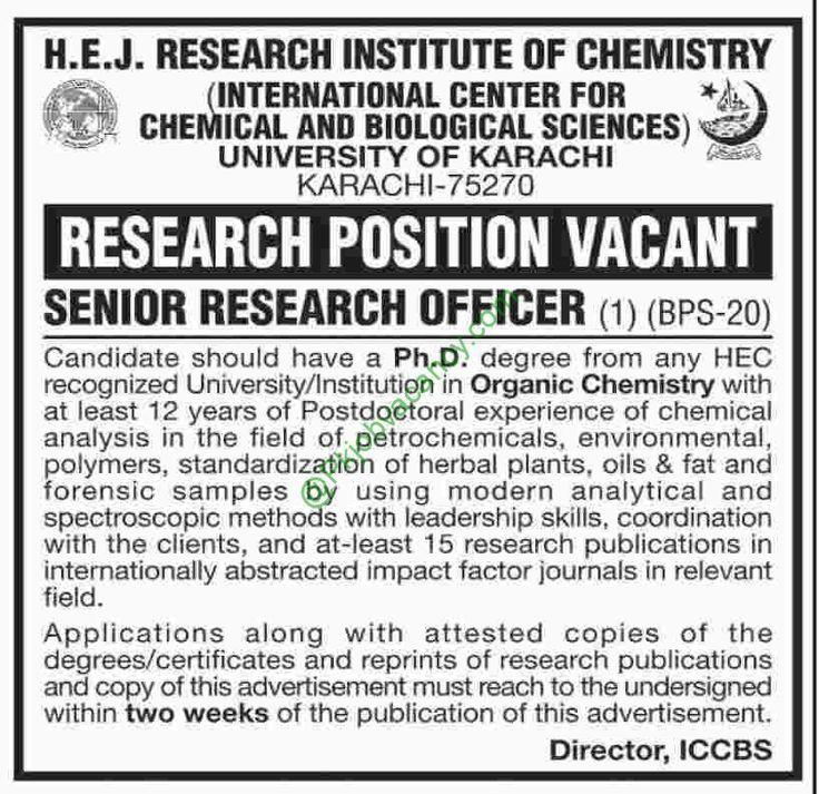 University of Karachi Job Dawn Newspaper 20 January 2017