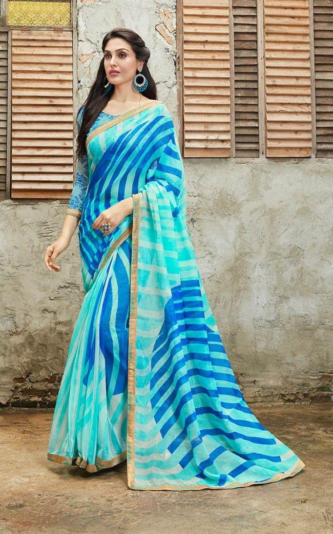 e76c6e31c2 Rajjo Net Sea Blue Designer Saree in 2019 | Engagement Sarees ...
