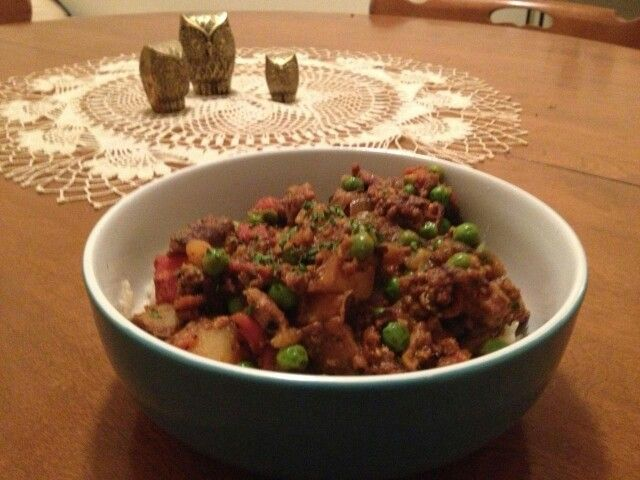 My take on this turkey curry recipe. I added twice the peas http ...