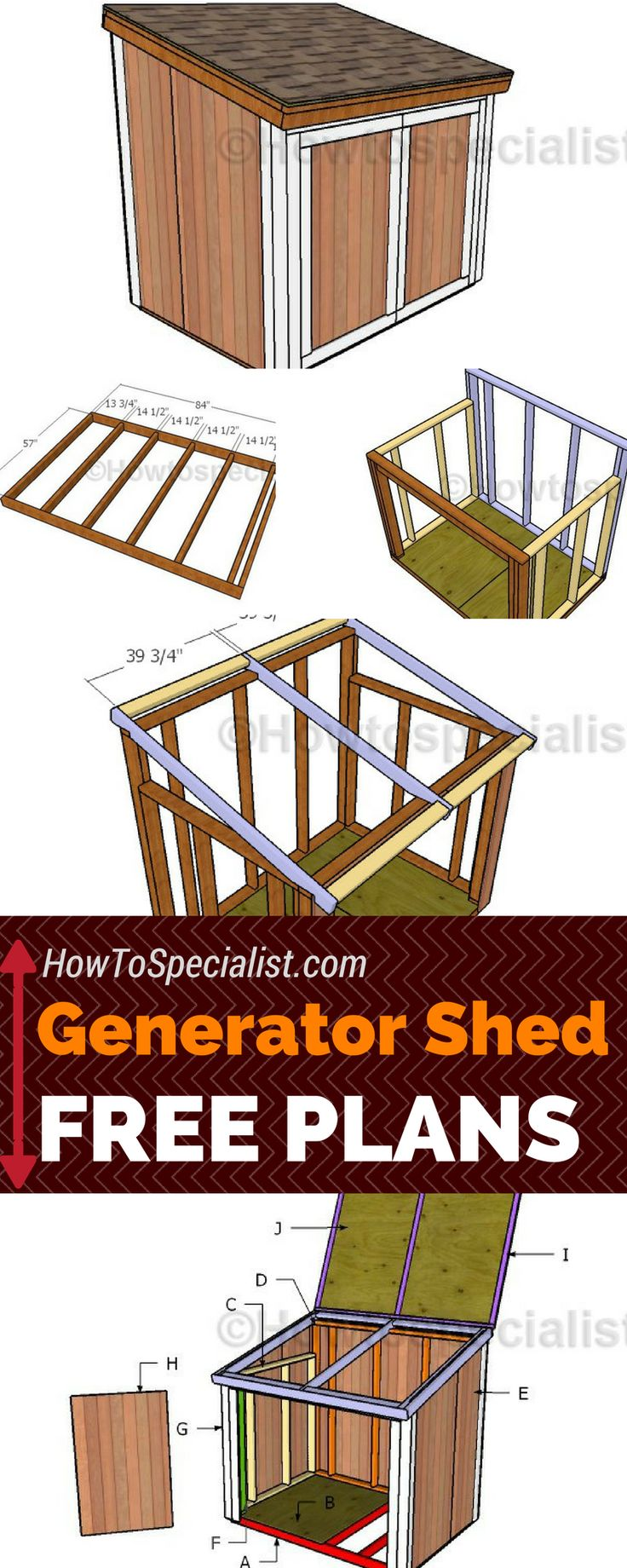 Learn how to build a generator shed using these free and step by step plans! These generator shed plans will show you anything you need to know about framing a 5x7 enclosure with double front doors and a top lid! #shed #generator howtospecialist.com