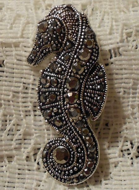 Pin By Casey Speights On Nails: Vintage Marcasite Sea Horse Brooch Pin By