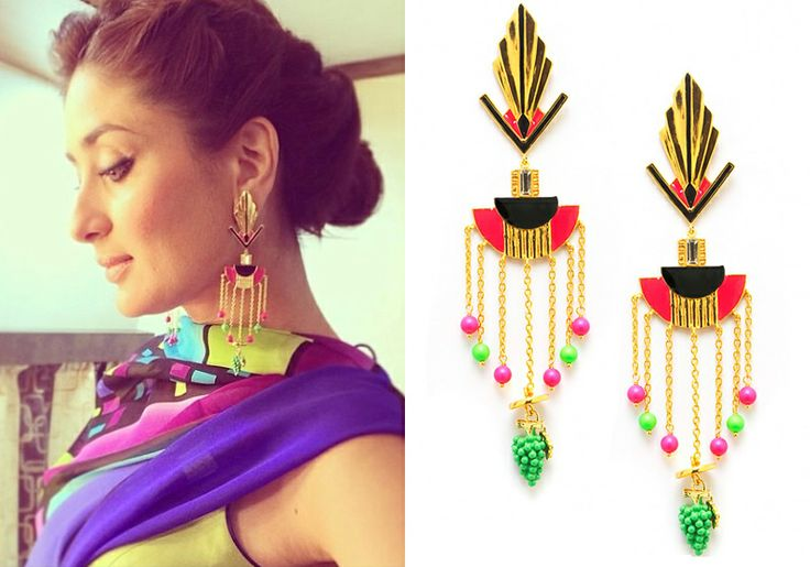 Kareena Kapoor finishes her stunning ensemble with these gold plated cella earrings from Manish Arora for Amrapali Jewels