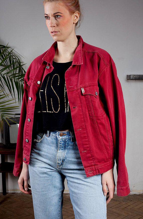 Vintage Mustang, red denim jacket