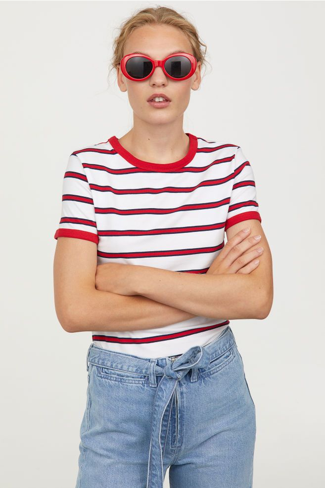 aafb6e18a6e Short Jersey Top - White red striped - Ladies