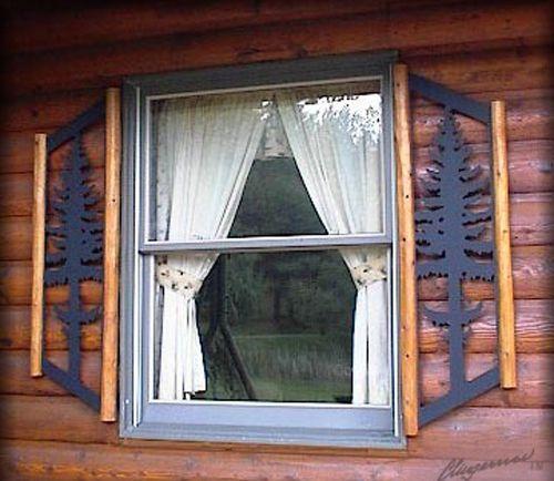 Pinetree window shutters rustic log cabin decor for Log cabin window