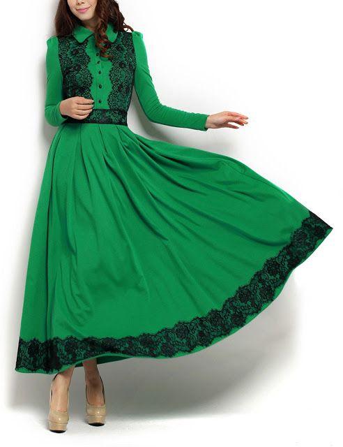 Lace Time!  |  Duchess Fashion: Malaysia Online Clothes Shopping: Green Doll Collar Lace Long Sleeve Maxi. |  tags: hijab, green maxi, green hijab outfit, hijabify, #hijab