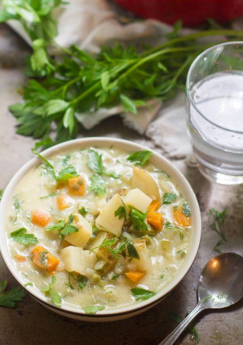 Creamy potato soup is simmered up with tangy dill pickles  Mein Blog: Alles rund um Genuss & Geschmack  Kochen Backen Braten Vorspeisen Mains & Desserts!