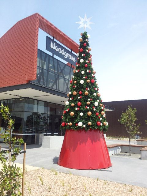 Christmas tree in front of new Woodgrove shopping center in Melton December 2013