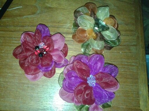 Fabric flowers, made from organza