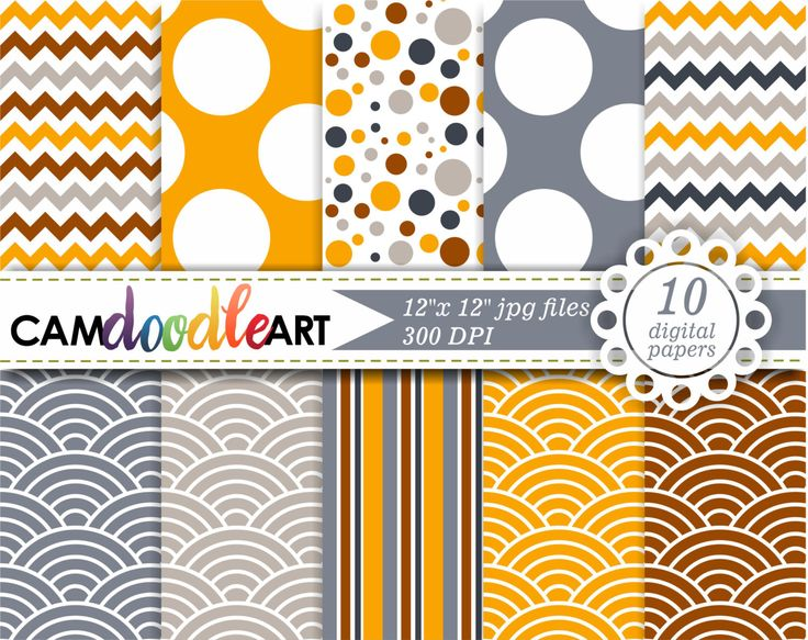 Fall Digital Paper Pack, Saffron Gray Brown Digital Paper, Autumn Scrapbooking Paper, Japanese Wave Pattern by CamDoodleArt on Etsy