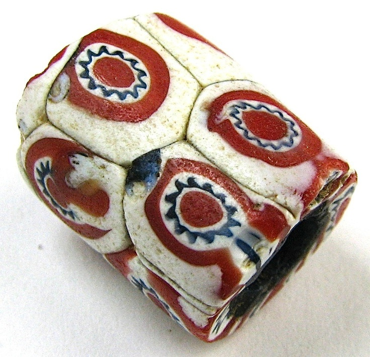 Old RARE White w Red Cane Pattern Millefiori Venetian Glass African Trade Bead