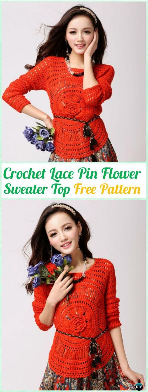 Crochet Hairpin Lace Flower Sweater Top FreePattern - Crochet Women Pullover Sweater Top Free Patterns