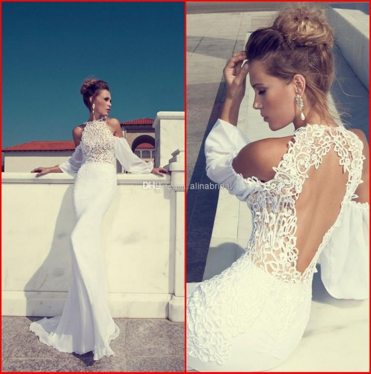 Amazing Romantic Off shoulder Sheath Chiffon And Lace Floor length Backless Sheath Wedding Dresses