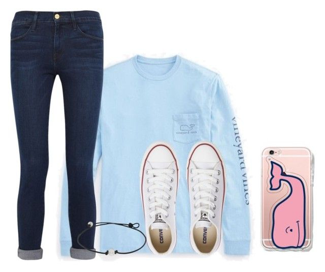 """""""Birthday tomorrow"""" by ashleypinkerton ❤ liked on Polyvore featuring Vineyard Vines, Frame Denim and Converse"""