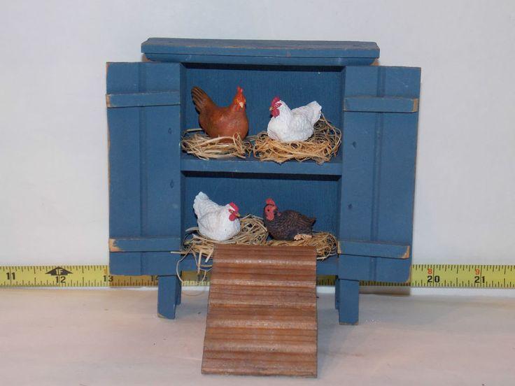 Chicken Hutch Chicken Coop Nest Dollhouse Miniatures Artist Handcrafted