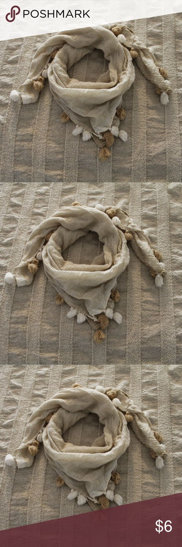 Light Beige Scarf with Tassles Light Beige Scarf with Tassles  Perfect for that cool summer night or just a fun accessory! - L. Forever 21 Accessories Scarves & Wraps
