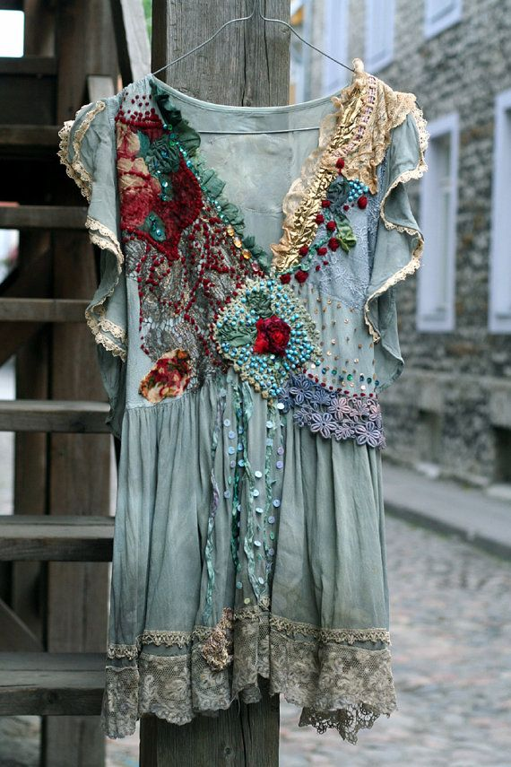 Juliette - romantic embroidered tunic, vintage antique laces, hand beading, bohemian, altered, whimsy