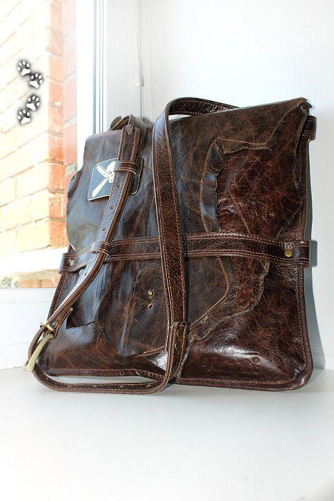 сумка-планшет винтажная кожа (leather shoulder bag)