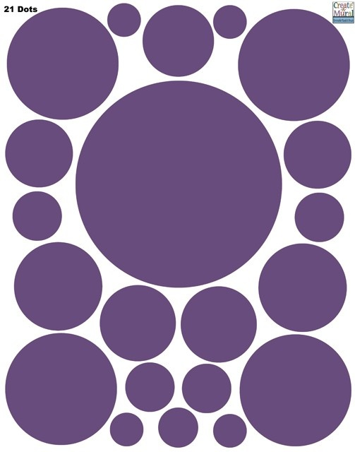 Create-A-Mural - Polka Dot Decals- Purple Wall Sticker , $9.99 (http://www.create-a-mural.com/products/polka-dot-decals-purple-wall-sticker.html)