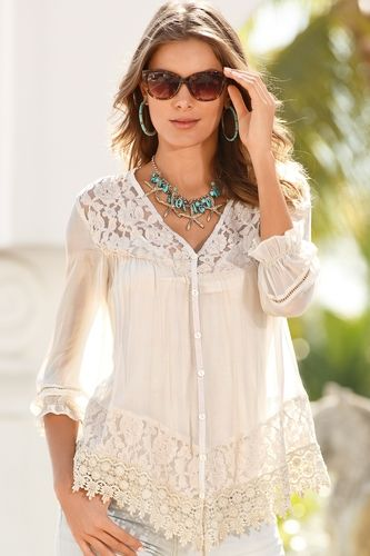Lace babydoll blouse from Boston Proper on Catalog Spree, my personal digital mall.