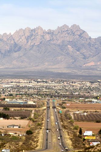 Las Cruces, New Mexico.  Looking east toward the Organ Mountains.
