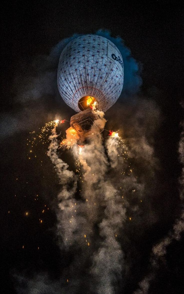 The Tazaungdaing Festival of Lights celebrates the end of the rainy season in Burma by releasing multicoloured lanterns and balloons into the sky and setting off fireworks to illuminate the path back to earth in Taunggyi, Myanmar.