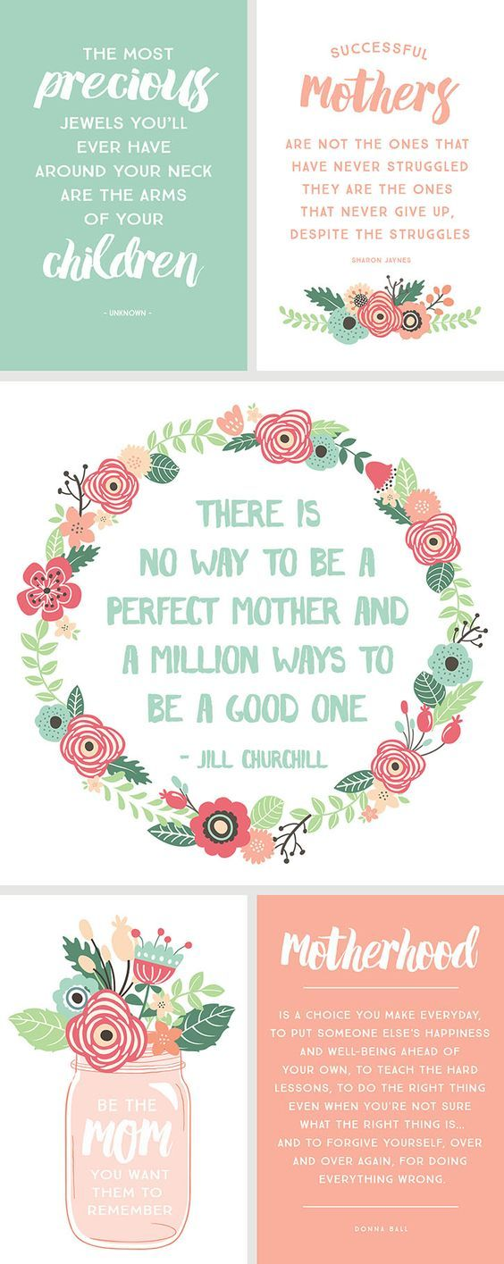 5 Inspirational Quotes for Mother's Day available in free printable format.