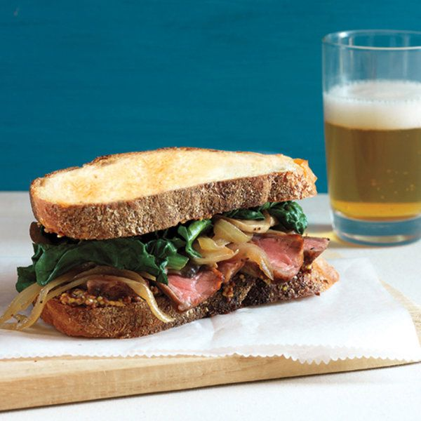 Steak Sandwiches with Sauteed Mushrooms and Spinach