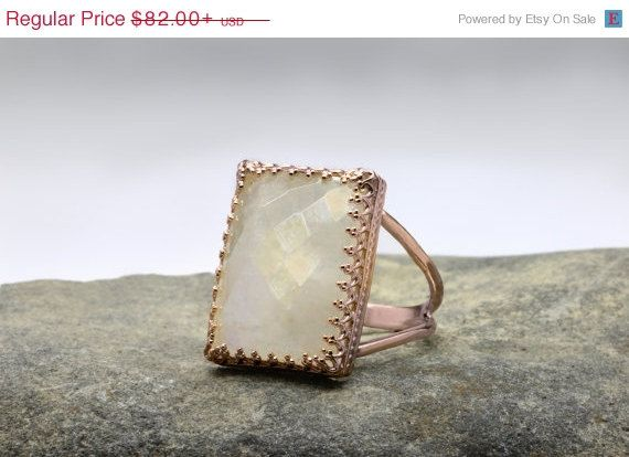 SALE 25% OFF rainbow moonstone ringrectangle by AnemoneJewelry