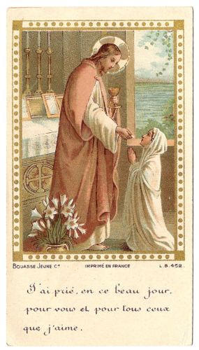 Antique Vintage French Holy Prayer Card Jesus with Young Girl Communion