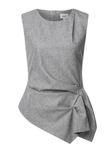 Viscose/Wool Felt Drape Top. Comfortable yet neat fitting sleeveless silhouette features a scoop neck, draped front body with asymmetrical hem in an all over felt fabrication. Available in Light Grey Marle as shown.