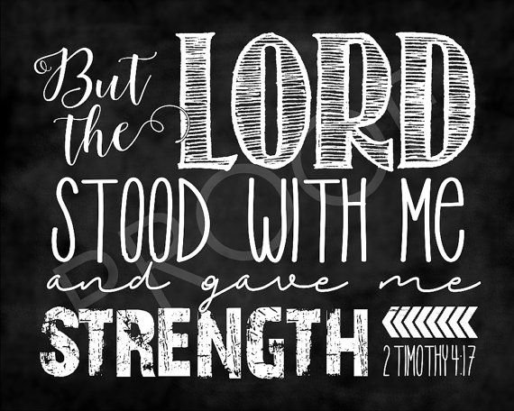 Scripture Art  2 Timothy 4:17  Chalkboard by ToSuchAsTheseDesigns
