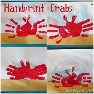 """Nancy - for that pop of beachy """"merlot"""" in your room? LOL. Handprint Crabs Preschool Craft Ocean Theme"""