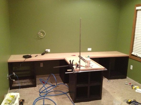 Diy Office With T Shaped Countertop And Built In Cabinets Office Furniture Diy Diy Office Home Office Furniture