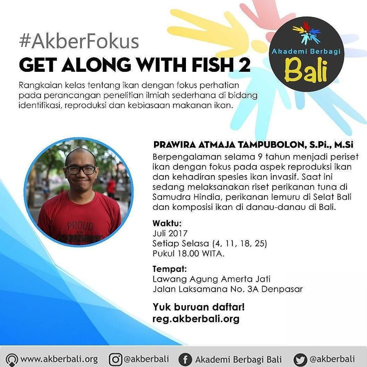 From @akberbali Halo Akberians  Indonesia merupakan negara kepulauan dengan potensi perikanan yang sangat tinggi. Keberadaan ikan-ikan tersebut bukan tanpa ancaman atau dinamika. Penelitian tentang ikan sangat diperlukan untuk menjaga jenis-jenis ikan tetap lestari dan terhindar dari kepunahan.  Penelitian ilmiah tidak selamanya sulit ada metode sederhana dan praktis yang dapat digunakan untuk melakukan penelitian tentang Ikan.  #AkberFokus Get Along With Fish 2 merupakan seri kelas fokus…