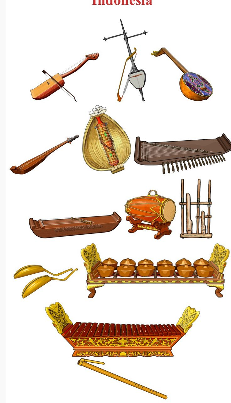 INDONESIA Up/Down, left to right 1.-TARAWANGSA, chordophone / bowed string instrument (Java / Indonesia / Asia). 2.-