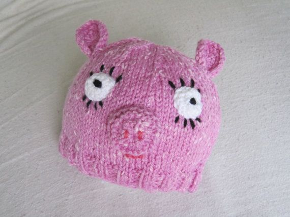 Pig hat beanie for small child soft wool and silk by HotScones, $45.00