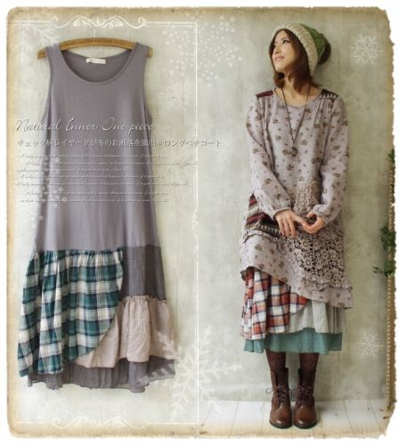 Mori-Girl-Floral-plaid-Sleeveless-Dress-Lagenlook-Basis-Base-skirt-Lolita-LK-4