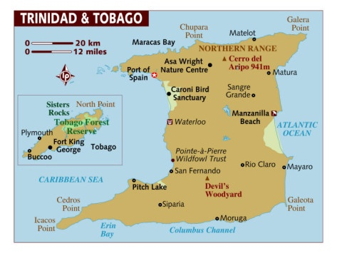 Map of Trinidad and Tobago, Caribbean Photographic Print