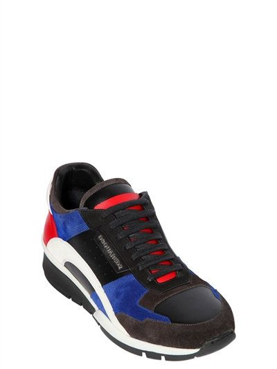 DSQUARED2 - LEATHER & SUEDE LOW SNEAKERS - MULTICOLOR