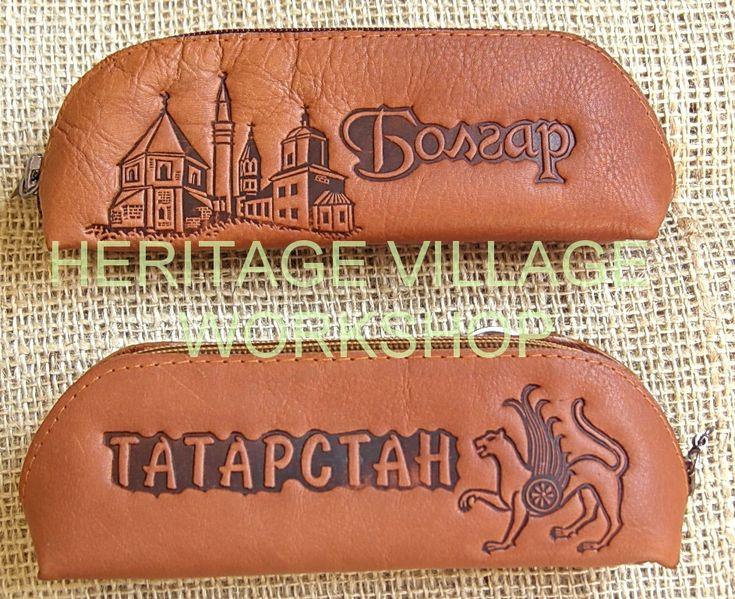 Handmade  leather spectacle-case with Bolghar , Tatarstan  historical monuments  . #bolghar , #tatarstan , #handmade , #leather