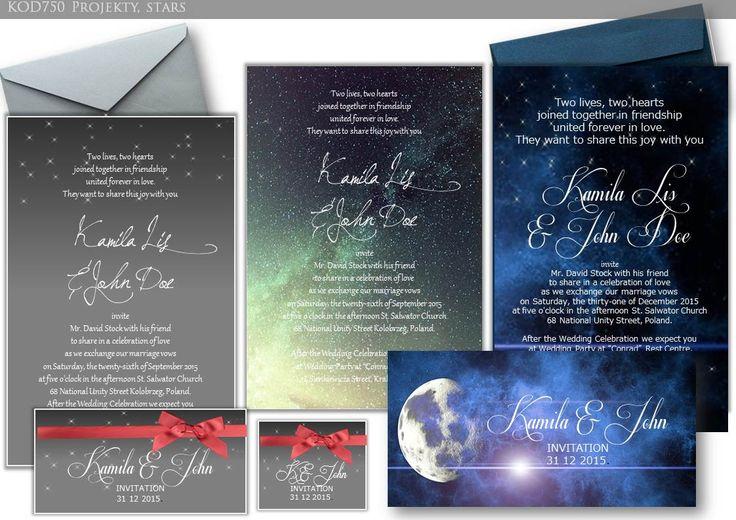 kod750 zaproszenia stars, gwiazdy, kosmos, motyw sylwsestrowy: