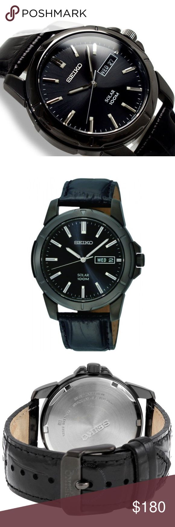Seiko Men's Solar Black Dial Watch This Seiko Men's Solar Black Dial Watch is a cutting-edge timepiece with a masculine appeal. Featuring a black analog dial & a black calfskin band. For those who prefer little fanfare, this solar watch from Seiko Men's exudes understated appeal with its numberless black dial & croco-embossed leather strap. Japanese quartz movement with analog display. Protective Hardlex crystal dial window. Features include no battery required, day/date. Water resistant to…