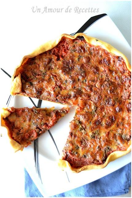 Tarte à l'aubergine, tomate et mozzarella