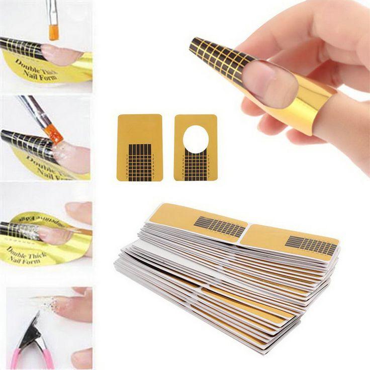 100 pçs/set profissional ferramentas unhas dicas Nail Art Form guia acrílico Gel ponta extensão adesivo unha polonês onda forma alishoppbrasil