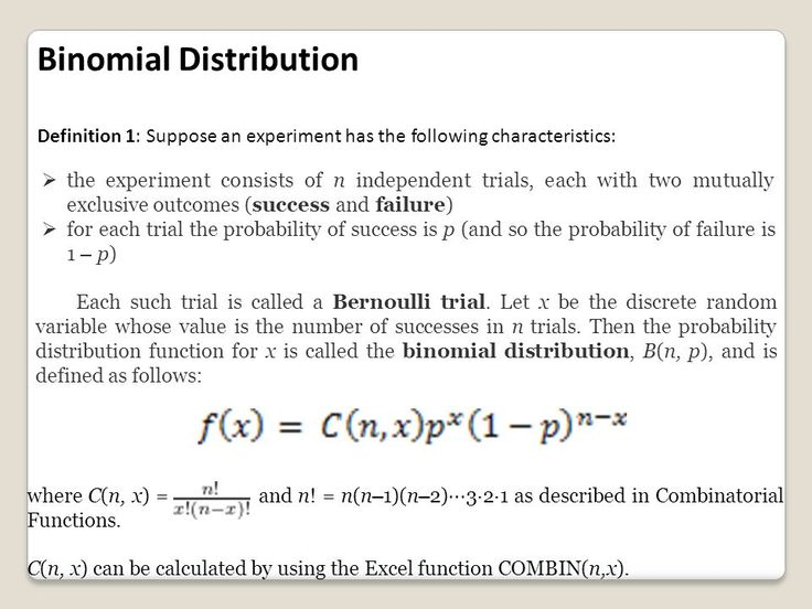 Binomial distributions: frequency distribution in which there are 2 or more points rather than one.