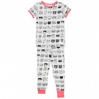 Pyjama deux-pièces évolutif à imprimé de chats, fille3 à 12 ans