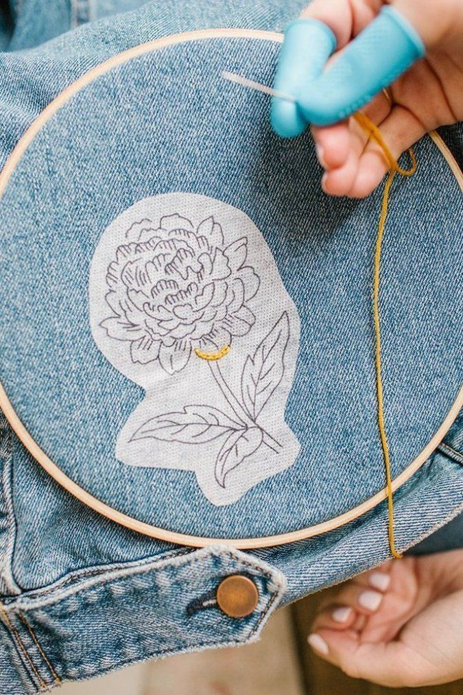 Hand Embroidered Denim Diy In 2020 Hand Embroidered Denim Crafts Diy Denim Diy