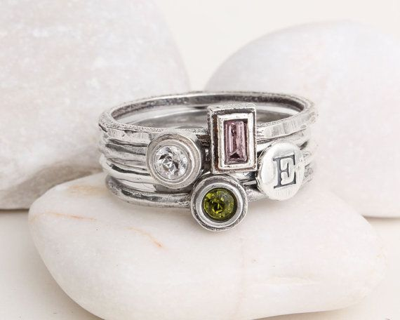 Mothers Rings Stacked Rings Sterling Silver Stackable Hand Stamped Custom Mothers Rings Birthstones and Initials. Design your own ring! Feb. Round  Sep. Rectangle Jun Round Initial S Dec. Round