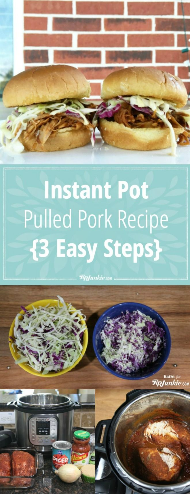 Instant Pot Pulled Pork Recipe {3 Easy Steps}! You are going to LOVE this! via @tipjunkie